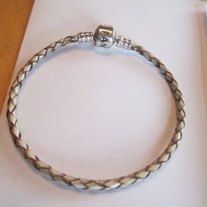 Pandora leather bracelet champagne  7.5""